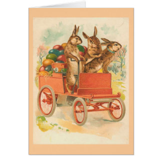 Three Bunnies With Eggs Vintage Easter Card