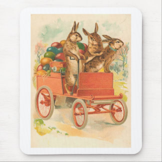 Three Bunnies With Eggs Vintage Easter Mouse Pad