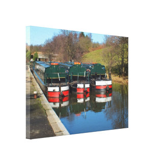 Three canal boats gallery wrap canvas