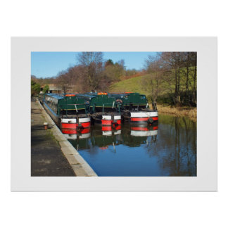 Three canal boats poster