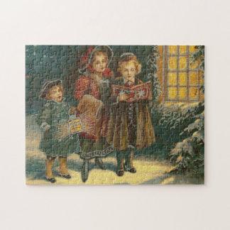 Three Carolers Cross Stitch Jigsaw Puzzle