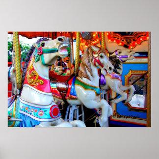 Three Carousel Ponies Poster