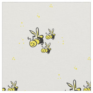 Three cartoon bees yellow & black on white fabric