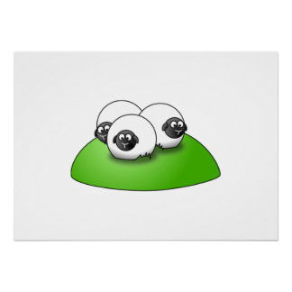 Three Cartoon Sheep on the Grass Poster