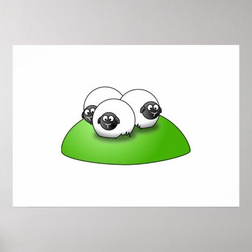 Three Cartoon Sheep on the Grass Poster