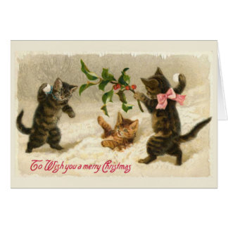 Three cats and a Holly branch Card