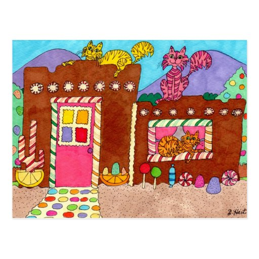 Three Cats at an Adobe Gingerbread House Postcards