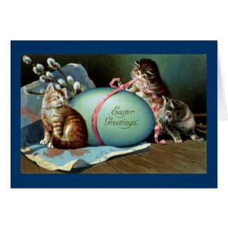 Three Cats & Big Blue Easter Egg Card
