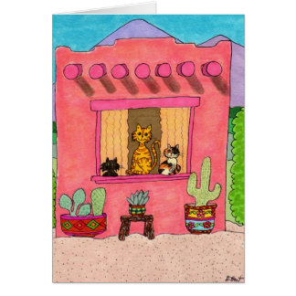 Three Cats in a Pink Adobe House Card