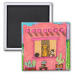 Three Cats in a Pink Adobe House Magnet