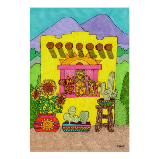 Three Cats in a Yellow Adobe House Poster
