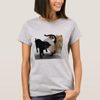Three Cats On Front And Back T-Shirt