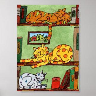 Three Cats Sleeping on a Bookshelf Mini Folk Art Poster