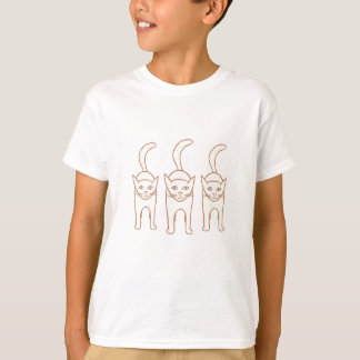 Three Cats Standing Outline Drawing Tshirts