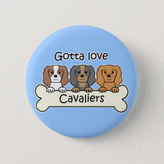 Three Cavalier King Charles Spaniels 6 Cm Round Badge