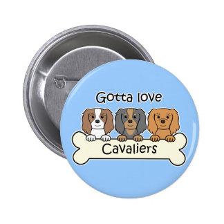 Three Cavalier King Charles Spaniels 6 Cm Round Badge