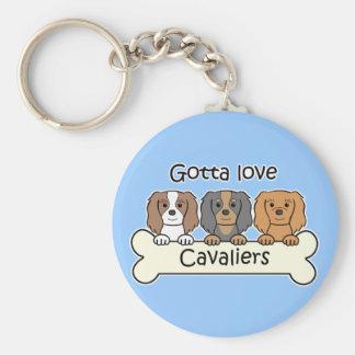 Three Cavalier King Charles Spaniels Key Ring