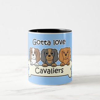 Three Cavalier King Charles Spaniels Two-Tone Coffee Mug