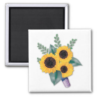 Three Cheerful Sunflowers Square Magnet