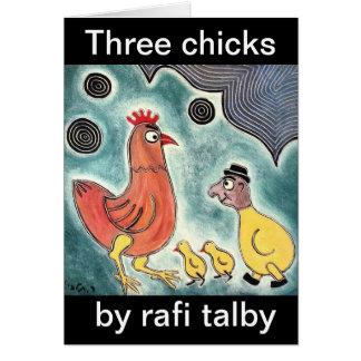 Three chicks by rafi talby greeting card