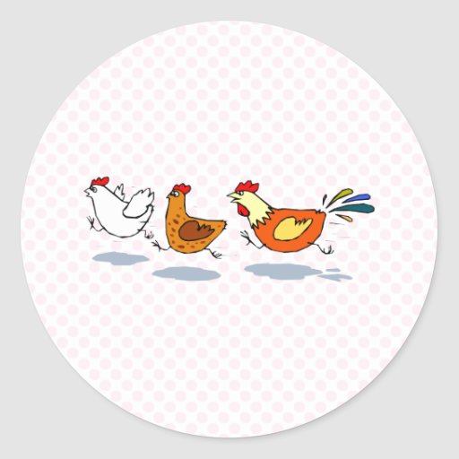 Three Chicks Round Stickers