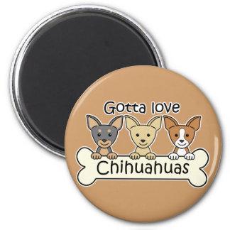 Three Chihuahuas 6 Cm Round Magnet