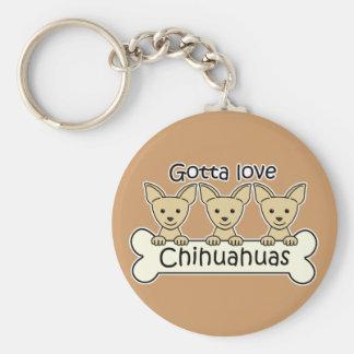 Three Chihuahuas Basic Round Button Key Ring