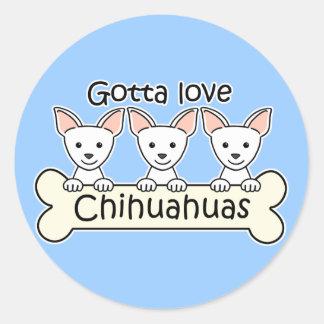 Three Chihuahuas Round Stickers