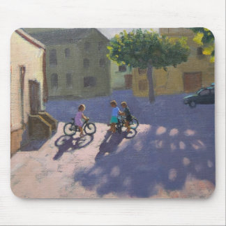 Three children with bicycles Spain Mouse Mat