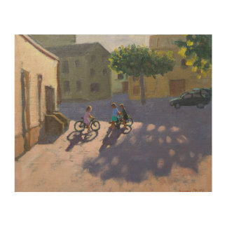 Three children with bicycles Spain Wood Wall Decor