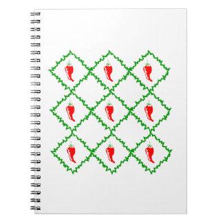 Three chili peppers white diamonds graphic notebooks
