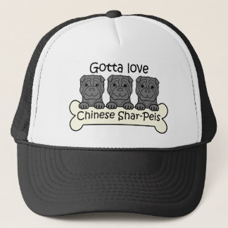 Three Chinese Shar-Peis Trucker Hat
