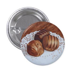 Three chocolates 3 cm round badge