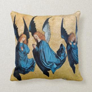 THREE CHRISTMAS ANGELS IN BLUE THROW CUSHION