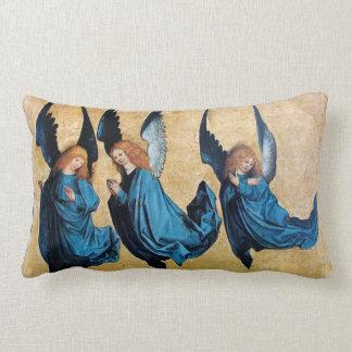 THREE CHRISTMAS ANGELS IN BLUE THROW CUSHIONS