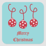 Three Christmas Baubles with stars Square Sticker