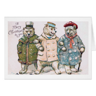 """Three Christmas Bears"" Vintage Card"