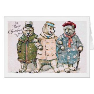 """Three Christmas Bears"" Vintage Greeting Card"