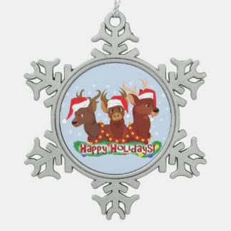 Three Christmas Deer Snowflake Pewter Christmas Ornament