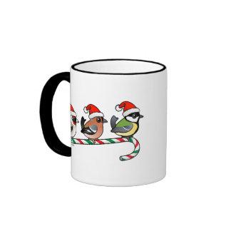 Three Christmas Finches (EU) Ringer Coffee Mug