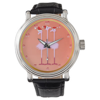 Three Christmas Flamingos Watch
