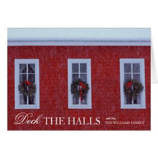 Three Christmas wreathes in schoolhouse windows Card