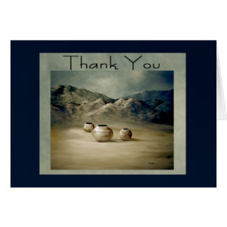 Three Clay Pots on Desert Floor Blank Thank You Card