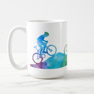 Three Color-Washed Mountain Bikers Coffee Mug