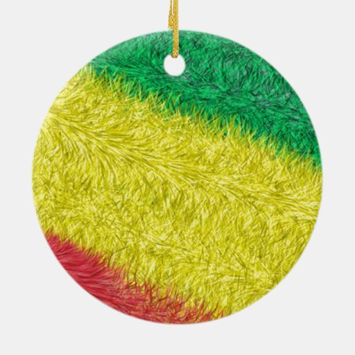 Three colored furry pattern christmas tree ornament