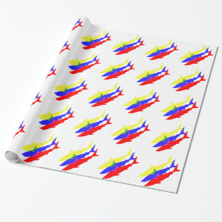 Three Colored Sharks Wrapping Paper