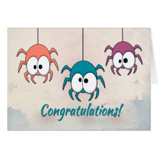 Three Colorful Spiders for Congratulation Greeting Card