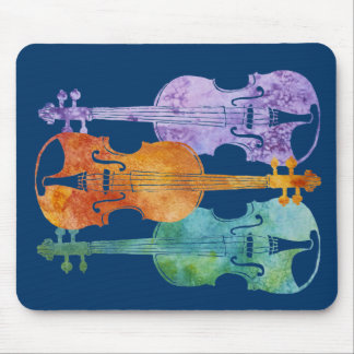 Three Colorful Violins Mouse Pad