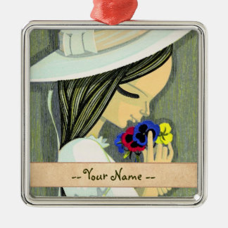 Three Coloured Pansies Ikeda Shuzo cute girl art Silver-Colored Square Decoration