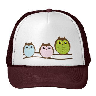 Three Colourful Owls On Branch Cute & Unique Cap